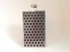 """Fitbit One pendant / necklace - Rectangle """"Honeycomb"""" Silver tone with black leather"""