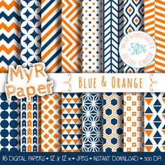 "#Geometric Digital Paper Pack: ""Blue & Orange"" geometric #patterns for #scrapbooking, invites, cards - printable - Backgrounds  50% OFF ON ORDERS OVER 12 $ (OR NEARLY 12 €) US... #design #graphic #digitalpaper #background #chevron #triangles #dots #honeycomb"