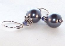 Bali Sterling Silver, Gray South Sea Shell Pearls, Faceted Iolite Dangle Earrings- Jewelry Gift for Her