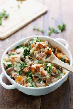 Sweet Potato, Kale, and Sausage Bake with White Cheese Sauce | Pinch of Yum