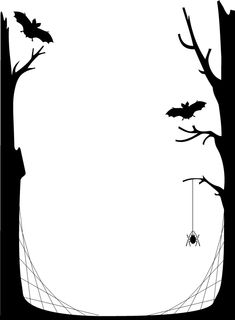 vintage borders | Nice printout of a spooky tree, bat, and spider web setting.