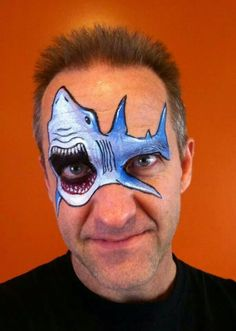 Nick Wolfe Shark Design - catch a face painting class with Nick in Australia November 2014 via www. Shark Face Painting, Mime Face Paint, Face Painting For Boys, Face Paint Makeup, Face Painting Designs, Paint Designs, Animal Face Paintings, Animal Faces, Boy Face
