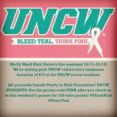 #ThinkPink this weekend and come support your Soccer & Volleyball Seahawks Fri. and Sat. Students check-in and get an extra 100 PTS by using the promo code PINK. #TeamTeal