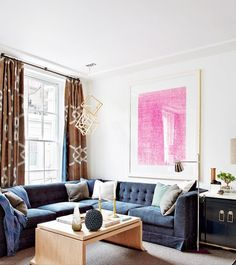 Modern living room design featuring a blue velvet sectional sofa brown print curtains a & 141 best Living Room Decor \u0026 Ideas images on Pinterest in 2018 ...