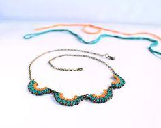 Macramè wave beaded collar neckalce green orange by KnottedWorld