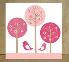 Nursery art canvases Birds and Trees set of 3 by FieldandFlower, $70.00