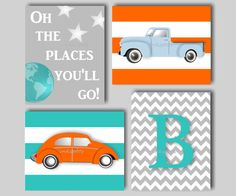 Baby Boy Nursery Art Car Nursery Bedding Decor by inkspotsgallery