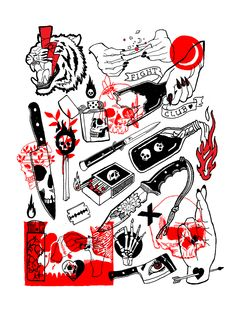 Trouble Maker poster Available at my Society6 shop #flash #tattoo #blackwork #skull #tiger #black #red #illustration