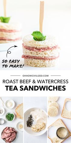 These roast beef and watercress finger sandwiches from Oh, How Civilized are the most perfect addition to your next tea party. This cute and tasty roast beef tea sandwich is easy to make. Made with layers of thinly sliced roast beef and topped off with watercress, this tea sandwich is sure to be a hit. #teasandwhich #fingersandwhich #appetizer #teaparty Roast Beef Tea Sandwiches, Finger Sandwiches, Tea Recipes, Cooking Recipes, Sliced Roast Beef, Tasty, Yummy Food, Lunch Snacks, Light Recipes