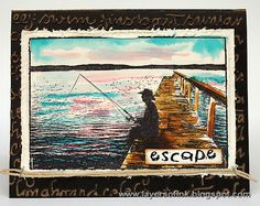Layers of ink: Escape Card by Anna-Karin. Made with a Photo Stamp by Darkroom Door, Ranger Distress Inks and a Sizzix embossing folder.