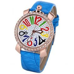 $5.05 Women Quartz Watch with Diamonds 12 Arabic Numbers Indicate Leather Watchband for Women