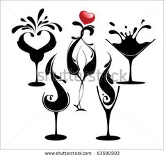stock vector : set of cocktail silhouette glasses... these could make some awesome paintings... adaptations of course. :)