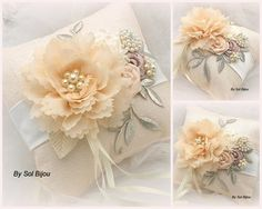 Ring Bearer Pillow Wedding Pillow in Blush and Ivory by SolBijou, $125.00