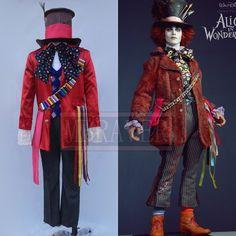 Alice au Pays Des Merveilles: À Travers le Miroir Chapelier fou Cosplay Costume Pour Adulte(China (Mainland))