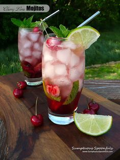 Cherry Lime Mojitos ~ Sumptuous Spoonfuls #cherry #lime #mint #rum #cocktail #recipe
