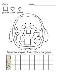 This is a preschool/kindergarten printable worksheet for graphing basic shapes--hearts, squares, and diamonds.  It can also give young students a chance to practice reading their color words.  The cute penguin picture can also be colored while they wait for other students to finish.