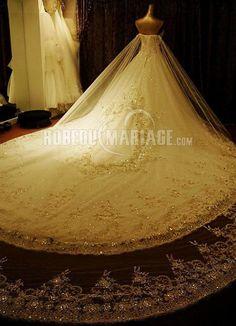 Robe de mariée boule blanche en organza bustier à traîne église  [#ROBE207391] - robedumariage.info