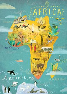 Africa and Antarctica, map, continents, world, world map Travel Maps, Africa Travel, Bel Art, Les Continents, Iceland Travel, Croatia Travel, Hawaii Travel, Italy Travel, Travel Illustration