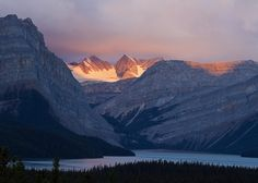 Sunrise over the Bow Glacier and Bow Lake in Banff National Park by Elizabeth Hak. Trip Planner, Travel Planner, Banff National Park, National Parks, Photo Direct, Mountainous Terrain, Western Canada, Beautiful Places In The World, Rocky Mountains