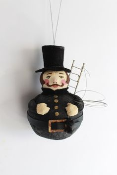 Cotton Christmas tree ornament chimney sweep, Vintage inspired