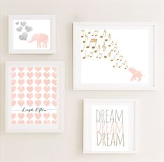Printable - Gallery Nursery Wall Art Set Vintage Elephant Hearts Dream Poster…