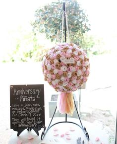 Anniversary pinata in place of guest book.have guest leave a note for the couple inside a pinata that will be popped open on the first anniversary. Wedding Pinata, Diy Wedding, Wedding Reception, Rustic Wedding, Dream Wedding, Wedding Day, Reception Ideas, Reception Activities, Wedding Flowers