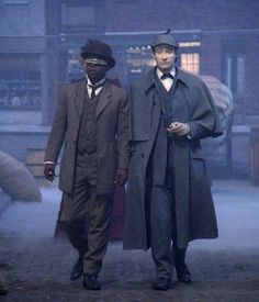 Data and Geordi all Sherlock'd up in the 1988 episode Elementary, Dear Data.