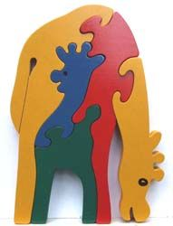 Zoo animal wooden puzzles, mother and baby designs, handmade non-toxic and eco-friendly. Three colour combinations to choose from!