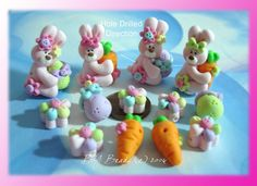 Easter Bunny Set Polymer Clay Scapbooking Charm Bead. $15.50, via Etsy.