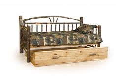 Our Hickory Daybed is made of bent hickory and comes with a natural stain.  #rustic #Amish