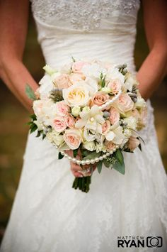 pink romantic pearl wedding flower bouquet, bridal bouquet, wedding flowers, add pic source on comment and we will update it. www.myfloweraffair.com can create this beautiful wedding flower look.