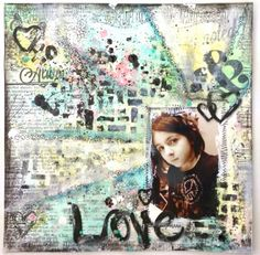 "Mixed Media Scrapbook Layout by @Limor Webber using Lindy's Stamp Gang ""Tres Chic"""
