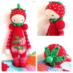 Het aardbeienmeisje gemaakt door Natasja Suselbeek. Ze is om op te eten ........