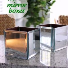 Mirrored Boxes {step by step}  This step by step guide will give you mirrored boxes! Add some sparkle to your desk or bookshelf! Perfect for holding items like pencils or plants, or leave it on it's own as a decorative statement!