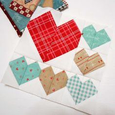 """Block 46 - Lots of Love. The third block in The Splendid Sampler sew-along. Patchwork hearts in a 6"""" square designed by Melissa Corry."""