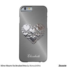 Silver Hearts On Brushed Stee Barely There iPhone 6 Case