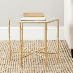 Elegant Safavieh Treasures Kerri Gold/ Mirror Top Accent Table (FOX2517A)