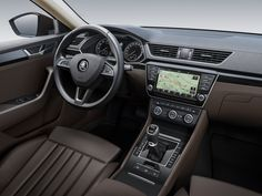 New Skoda Superb Interior Revealed Skoda has released two images which show the front section of the passenger cabin of their upcoming flagship sedan, the Superb. Doesn't this new Skoda interior looks classic? Vw Passat, Audi, Porsche, Auto Skoda, Prague, Skoda Superb, 4x4, Volkswagen, Classic Sports Cars