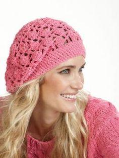 Fresh, pink crochet cap of Schachenmayr original Favorito - Free Pattern