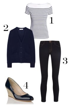 1. H&M Striped Top, $12.95; hm.com. 2. Equipment Sullivan Cashmere Cardigan, $318; net-a-porter.com. 3. J Brand 811 Mid-Rise Skinn Jeans, $160; net-a-porter.com. 4. L.K. Bennett Zella Patent Leather Wedge, $325; http://us.lkbennett.com. What to Wear to Work When You're Channeling Kate Middleton