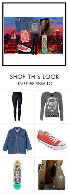 """""""Going out with your friends """" by pauline-orangina ❤ liked on Polyvore featuring WithChic, Superdry, Monki, Converse and Flash Tattoos"""