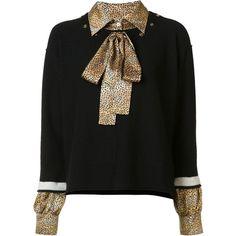 Sonia Rykiel Leopard Underlay Sweater found on Polyvore featuring tops, sweaters, kirna zabete, long sleeve silk top, silk sweater, leopard print top, leopard sweater and long sleeve tops