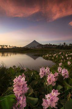 Philippines volcano sunset