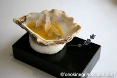 Molecular Gastronomy; Oyster and passion fruit jelly, lavender