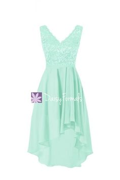 Mint High Low Lace Party Dress V-neckline Lace Bridesmaids Dress Formal Dress (BM2344)