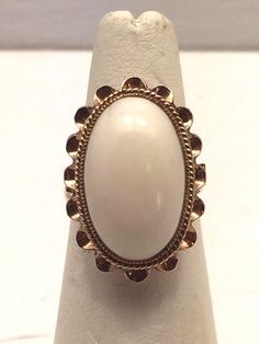 Rare Vintage Estate Antique 18K Gold Ivory Stone Scroll Lacy Statement Ring Sz 5 #Solitaire
