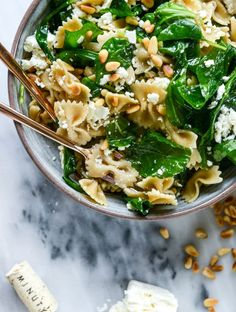 30 Minute Farfalle with Marinated Feta, Arugula and Toasted Pine Nuts. | How Sweet It Is | Bloglovin'