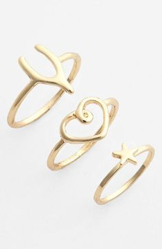 Stephan & Co. Charm Rings (Set of 3) (Juniors) | Nordstrom