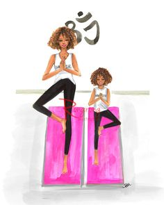 Sketch Hair Mom and daughter illustration,Yoga wall art, Curly hair, fashion mom and daughter, Yoga mom and daug - Fashion Wall Art, Fashion Prints, Mother Daughter Art, Yoga Mom, Black Women Art, Black Girls, How To Draw Hair, Fashion Sketches, Fashion Illustrations