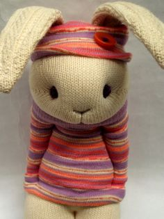 Little Sockamajig Bunny in a hat and jumper